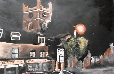 Painting - Chertsey At Night 2 by Carole Robins