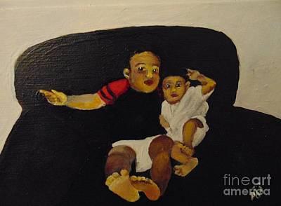 Art Print featuring the painting Cherubs by Saundra Johnson
