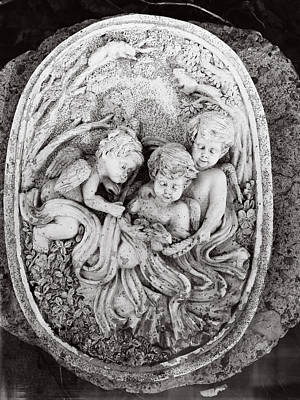 Child With Flowers Relief - Cherub...winged Angel by Tom Druin