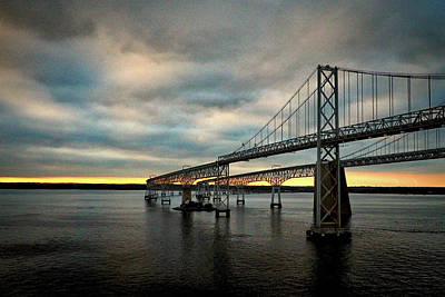 Photograph - Chesapeake Bay Bridge At Twilight by Bill Swartwout