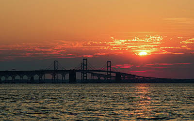 Photograph - Chesapeake Bay Bridge Sunset 3 by Richard Macquade