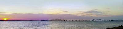 Photograph - Chesapeake Bay Bridge Sunset Pano by Brian Wallace