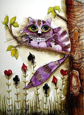Cheshire Cat Painting - Cheshire Cat by Lucia Stewart