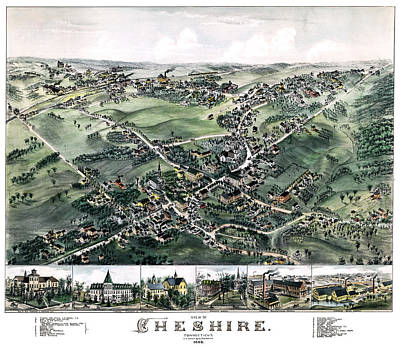 Photograph - Cheshire Connecticut 1882 Map by Phil Cardamone