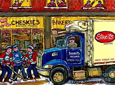 Painting - Cheskie's Kosher Bakery On Bernard Hockey Game Near Streit's Truck Montreal Winter Snow Scene   by Carole Spandau