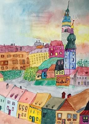 Chesky Krumlov  Art Print by Bonnie A