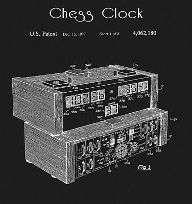 Drawing - Chess Clock Patent by Dan Sproul