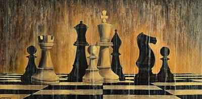 Game Piece Painting - Chess by Dimitra Papageorgiou