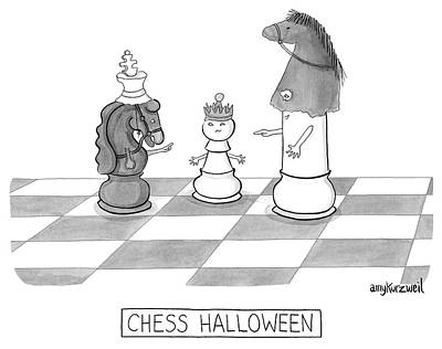 Amy-kurzweil Drawing - Chess Halloween by Amy Kurzweil