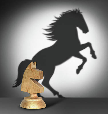 Chess Player Digital Art - Chess Horse With  Shadow As A Wild Horse  by Cranach Studio