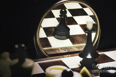 Chess Is Reflected In A Mirror, The Side Are A Few More. Alter Ego. Reflection Reveals That In Fact Original by Y K