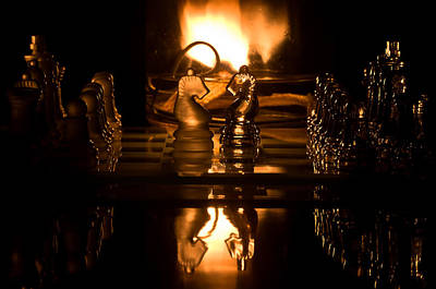Photograph - Chess Knights And Flame by Lori Coleman