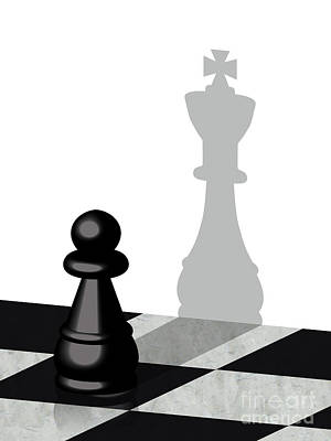 Digital Art - Chess Pawn Showing The Shadow Of A King by Giadoart Gianni D'Orio