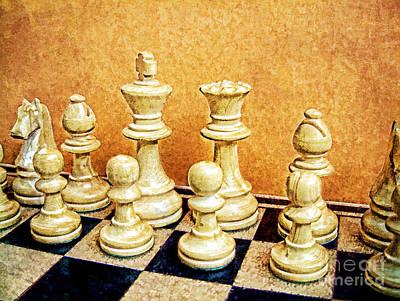 Chess Pieces On Board Art Print by Helen  Bobis