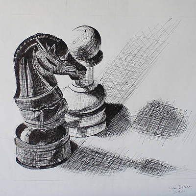Game Piece Drawing - Knight And Pawn Chess Pieces  by Sonya Delaney
