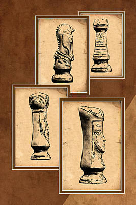 Parchment Photograph - Chess Pieces by Tom Mc Nemar