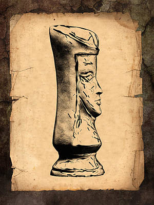 Parchment Photograph - Chess Queen by Tom Mc Nemar