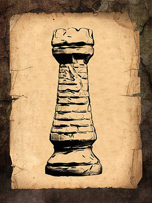 Parchment Photograph - Chess Rook by Tom Mc Nemar