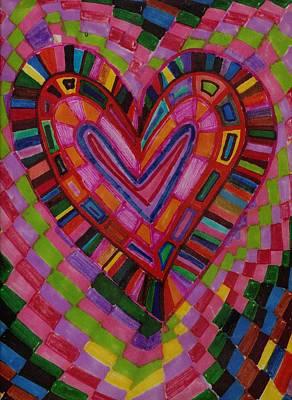 Chessire Heart Art Print by Brenda Adams