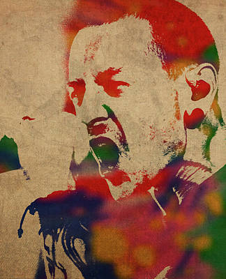 Chester Bennington Mixed Media - Chester Bennington Linkin Park Watercolor Portrait by Design Turnpike