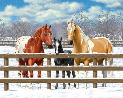 Chestnut Paint Horse Painting - Chestnut Appaloosa Palomino Pinto Black Foal Horses In Snow by Crista Forest