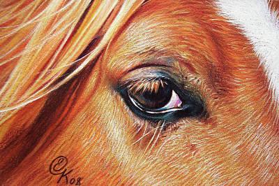 Drawing - Chestnut Close-up by Elena Kolotusha
