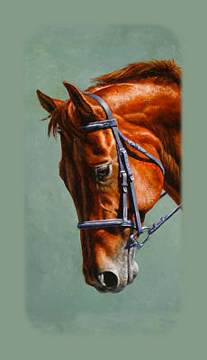 English Riding Painting - Chestnut Dressage Horse Phone Case by Crista Forest