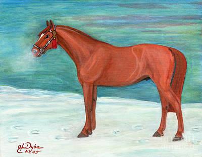 With A Story Painting - Chestnut Horse by Anna Folkartanna Maciejewska-Dyba