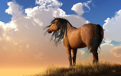 Digital Art - Chestnut Horse by Daniel Eskridge