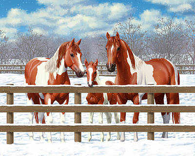 Chestnut Paint Horse Painting - Chestnut Paint Horses In Snow by Crista Forest