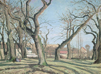 Chestnut Trees At Louveciennes Print by Camille Pissarro