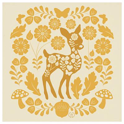 Mushroom Mixed Media - Chestnut Woodland Folk Deer by Catherine Noel