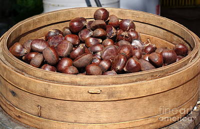 Photograph - Chestnuts In A Bamboo Steamer by Yali Shi