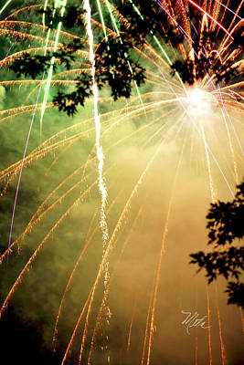Print featuring the photograph Chetola Yellow Fireworks by Meta Gatschenberger