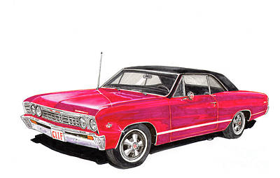 Painting - Chevelle S S  327 by Jack Pumphrey