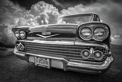 Photograph - Chevrolet Biscayne 1958 In Black And White by Debra and Dave Vanderlaan