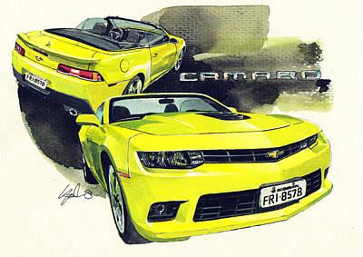 Camaro Painting   Chevrolet Camaro Convertible By Yoshiharu Miyakawa