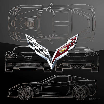 Digital Art - Chevrolet Corvette 3 D  Badge Over Corvette C 6  Z R 1 Silver Blueprint On Black Special Edition by Serge Averbukh