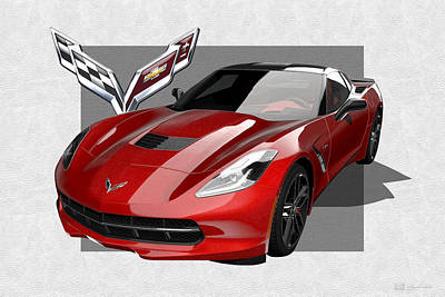 Digital Art - Chevrolet Corvette  C 7  Stingray With 3 D Badge  by Serge Averbukh