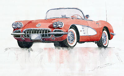 Watercolor Painting - Chevrolet Corvette C1 1960  by Yuriy  Shevchuk