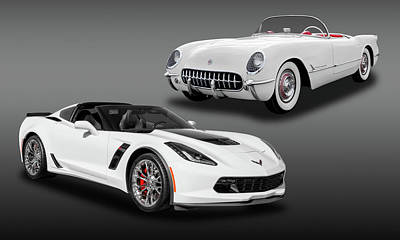 Photograph - Chevrolet Corvette C1-c7  -  Americas Sports Car Then And Now  -  54vette16zo69547 by Frank J Benz