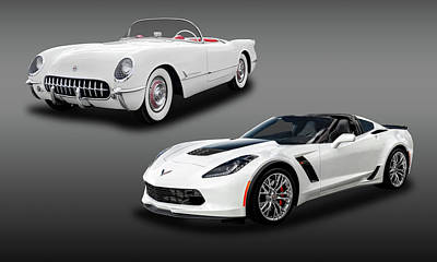 Photograph - Chevrolet Corvette C1-c7 - Americas Sports Car Then And Now  -  16zo654c2vette9262 by Frank J Benz