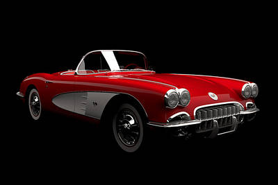 Digital Art - Chevrolet Corvette C1 by David Marchal
