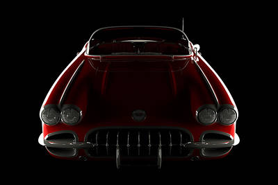 Digital Art - Chevrolet Corvette C1 - Front View by David Marchal