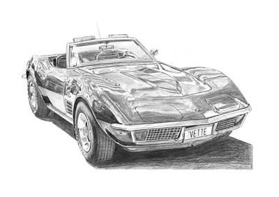Corvette Drawing - Chevrolet Corvette C3  by Gabor Vida