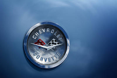 Photograph - Chevrolet Corvette  Hood Emblem by Phil Cardamone