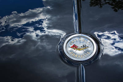 Photograph - Chevrolet Corvette Hood Emblem With Sky Reflection by Phil Cardamone