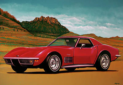 Mixed Media - Chevrolet Corvette Stingray 1971 Mixed Media by Paul Meijering