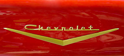 Photograph - Chevrolet Emblem On Classic Red Chevy by Phil Cardamone