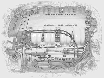 Photograph - Chevrolet Lt5 Sketch by Guy Pettingell